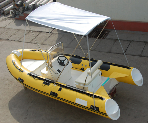 Yellow 14ft Fiberglass RIB Inflatable Rescue Boat With Outboard Motor