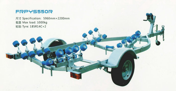 Fiber Reinforced Polymer RIB Boat Trailer Single Shaft 5.96*2.2m