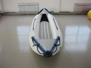 White PVC Fabric One Person Raft Inflatable Fishing Kayak With Aluminum Seat