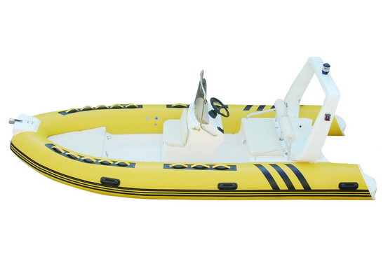 Yellow Color Inflatable RIB Boats For Rescue And Fishing 4.8 Meter Length