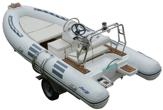 China Hand Made FRP Inflatable RIB Boats , Deep - V Fiberglass Hull Inflatable Fishing Dinghy distributor