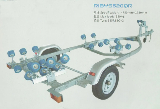China Custom Aluminum Alloy Single SHAFT Boat Trailers For RIB-520 Boat 4.75*1.73m distributor