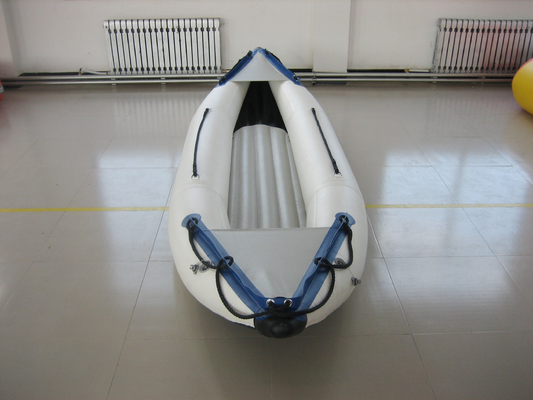China White PVC Fabric One Person Raft Inflatable Fishing Kayak With Aluminum Seat distributor